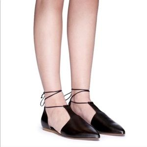 Vince Noella Leather Lace Up Pointed Toe Flats